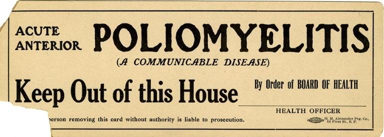 Járványos gyermekbénulás miatt lezárt házra figyelmeztető felirat 1910-ből, San Francisco-ból | Forrás: National Library of Medicine, USA